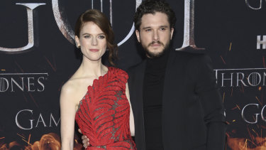 Rose Leslie, left, and Kit Harington at the Game of Thrones final season premiere in New York on April 3.