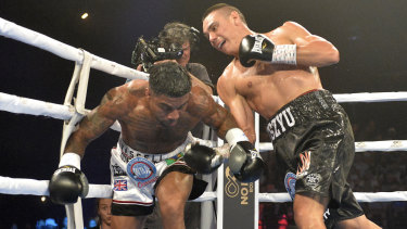 Over and out: Tim Tszyu makes short work of Denton Vassell during the Star of the Ring fight night.
