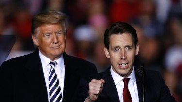 Republican Sentor Josh Hawley (pictured with Trump) suggested Facebook sell Instagram.