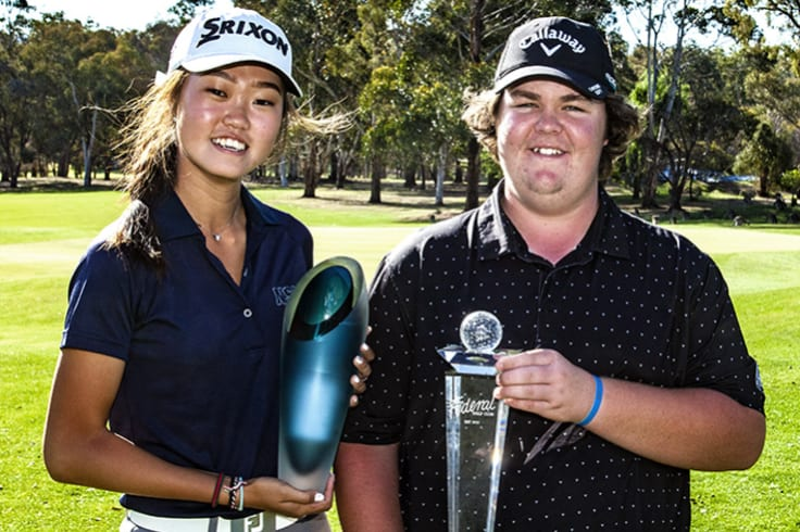 Federal Amateur Open winners Grace Kim and Corey Lamb.