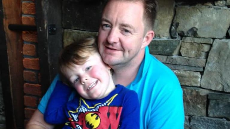Lee Moran with his son Brodie, who was found dead at his home on the Mornington Peninsula on Thursday.