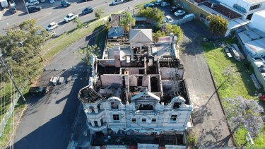The Broadway Hotel after the September 2018 fire.