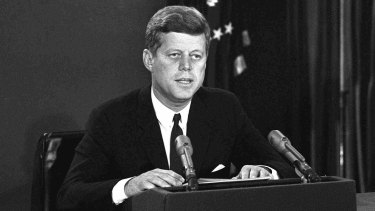 October 22, 1962: John F. Kennedy addresses US citizens to announce a naval blockade of Cuba until Soviet missiles are removed.