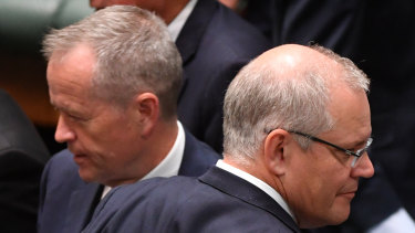 Opposition leader Bill Shorten (left) and Prime Minister Scott Morrison during the last sitting day of 2018.