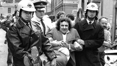 Jack Mundey being carried from a protest at The Rocks in the early seventies.