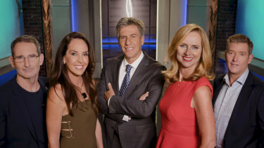 Some Shark Tank judges have been unwittingly caught up in online scams. From left, Steve Baxter,  Janine Allis, Andrew Banks, Naomi Simson and Glen Richards.