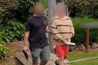 Former Home and Away actor Putu Winchester-Stanton, 44 (wearing red shorts) was charged with 10 offences including supplying commercial quantity prohibited drugs and knowingly directing the activities of a criminal group.