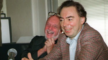 Harold Prince with Andrew Lloyd Webber in 1996.