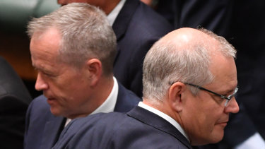 Opposition leader Bill Shorten (left) and Prime Minister Scott Morrison during the last sitting day of 2018.
