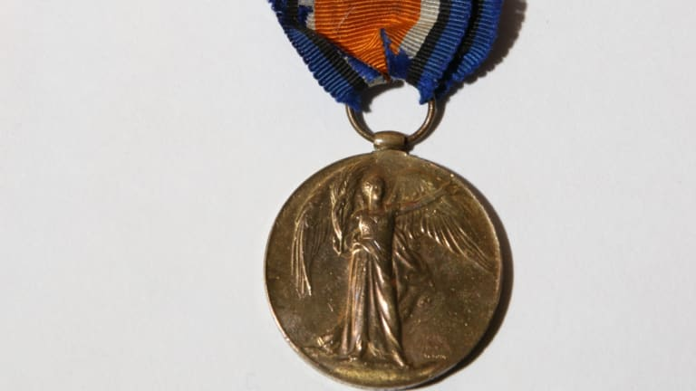 Some of the medals in the recovered collection.