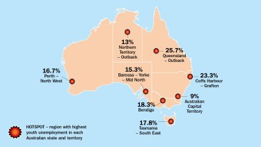 The latest snapshot of youth unemployment hot spots from The Brotherhood of St Laurence.
