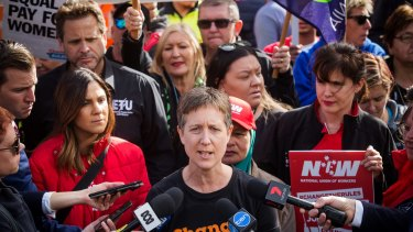 Sally McManus, leader of the ACTU which is mobilising thousands of volunteers in a campaign targeted at marginal seats held by the Coalition.