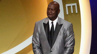 Michael Jordan on stage during the 2021 Basketball Hall of Fame Enshrinement Ceremony on May 15.