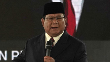 Indonesian presidential candidate Prabowo Subianto speaks during the fourth presidential debate in Jakarta on Saturday.