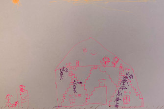 Isla, 6, draws her experience of lockdown, including how she socialises with friends over the fence.