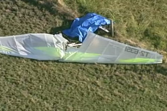 An aerial view of the scene where a man died during an aircraft crash in Koo Wee Rup on Sunday.