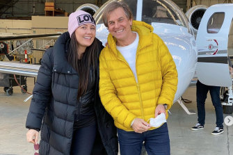 Andrew Norbury with his wife Lydia Schiavelloat Essendon Airport.