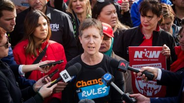 """Sally McManus said it would be """"weird"""" if she signed the CFMMEU pledge."""