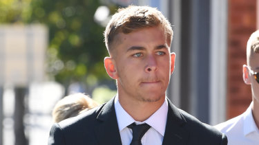 Callan Sinclair arrives at Wollongong Local Court.