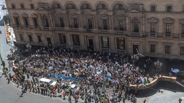 Thousands of students protested in Melbourne at the first climate strike in 2018.