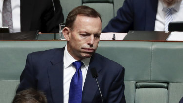 Former prime minister Tony Abbott during question time at Parliament House on Tuesday.