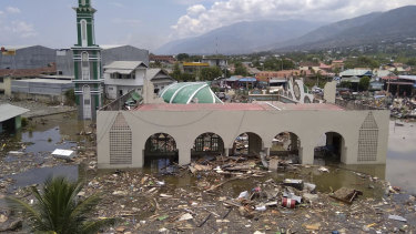 The ruin of a mosque badly damaged by earthquake and tsunami is seen in Palu on Saturday.