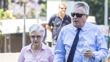 Rae and Colin Betts leave the Coroners Court in Brisbane on Wednesday.