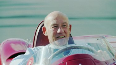 British ex Formula One world champion Stirling Moss on the road in Melbourne in  1996.