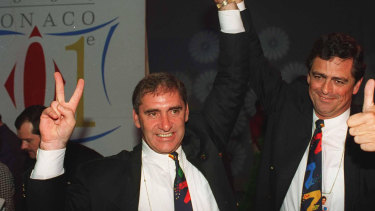 John Fahey and Rod McGeogh celebrate in Monaco as Sydney is announced as the winner.