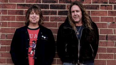 Local rockers Ash Naylor, left, from Even, and Kram, from Spiderbait, are still performing almost three decades into their careers.