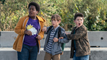 Irresponsible scene as Lucas (Keith L. Williams), from left, Max (Jacob Tremblay) and Thor (Brady Noon) dodge traffic in Good Boys.