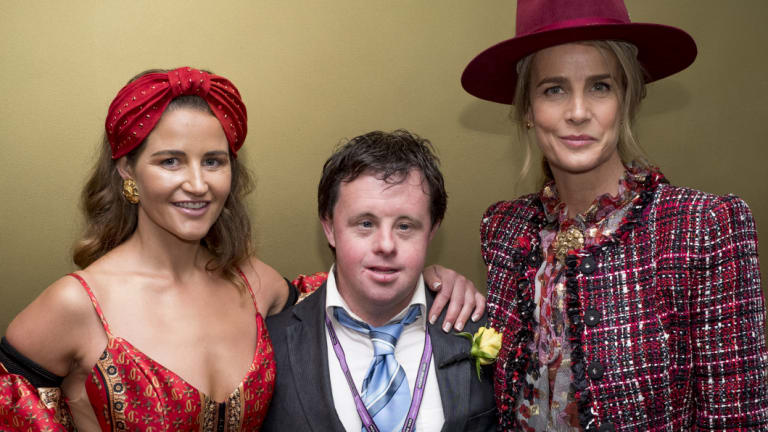 Michelle Payne with her brother Stephen and actor Rachel Griffiths at the Cup.