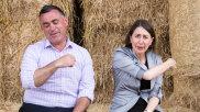 NSW Premier Gladys Berejiklian, and Deputy Premier, John Barilaro, on Boyd Baling farm in Lismore, NSW.