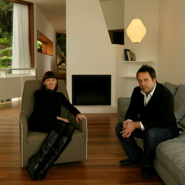 Rachel Neeson and Nick Murcutt in 2009 at the Whale Beach property they designed.