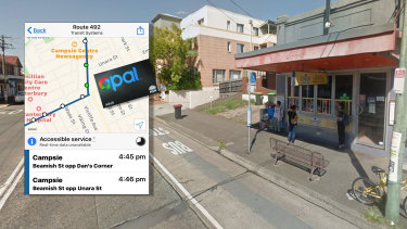 The Dan's Corner bus stop in Campsie where the man's Opal card showed his last trips originated.