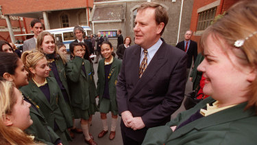 Then treasurer Peter Costello campaigning for an Australian republic in August 1999.