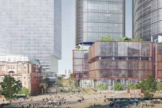 An artist's impression of the towers on the western edge of Sydney's Central station.