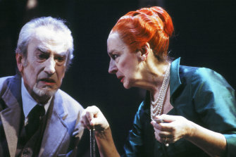 Zoe Caldwell performing with Alex Scott in Melbourne Theatre Company's The Visit in 2003.