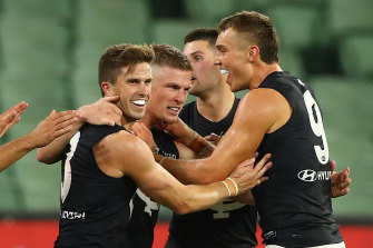 Jack Newnes celebrates his goal in the first - and thanks to the shutdown,only - game for his new club.