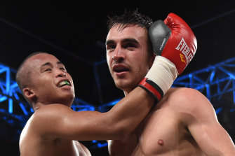 Third time lucky: Organisers have found someone to fight Jason Moloney, right, at the MGM casino after two other rivals fell through.