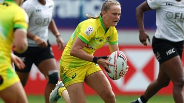Job done: Emma Sykes helped Australia go unbeaten through the first two days of the Sevens World Series in Paris.