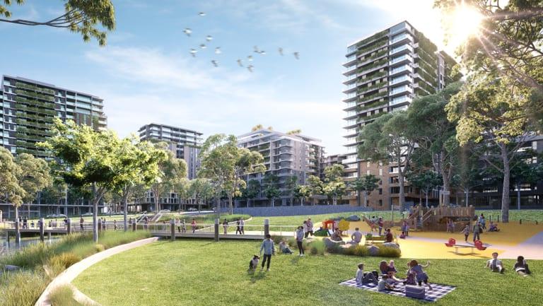 An artist's impression of the Melrose Park development in north-west Sydney.