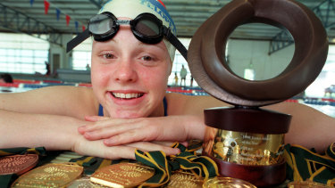 Swimmer Siobhan Paton with some of her career spoils