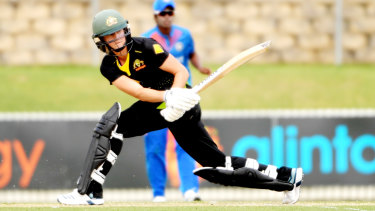 Ellyse Perry top-scored with 49 as Australia chased down their target of 104.