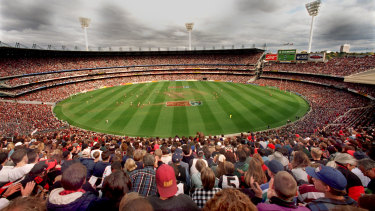 The first Anzac Day clash between Essendon and Collingwood in 1995 attracted a packed house. It is still uncertain if that will be allowed to happen this year.
