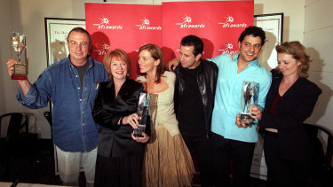 Lantana swept the 2001 AFI awards, winning best film and director, as well as sweeping the acting categories. Pictured at the awards are (from left) director Ray Lawrence, producer Jan Chapman and actors Kerry Armstrong, Anthony LaPaglia, Vince Colosimo and Rachael Blake.