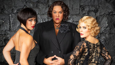 "Casey Donovan (middle) as Matron ""Mama"" Morton with Alinta Chidzey as Velma Kelly and Natalie Bassingthwaighte as Roxie Hart."