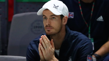 Andy Murray watches on as Great Britain play in the Davis Cup last week.