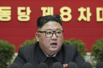 North Korean leader Kim Jong Un speaks at the ruling party congress in Pyongyang, on Friday, in this photo supplied by the North Korean government.