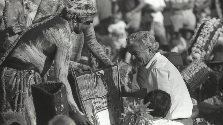 Then prime minister Bob Hawke receives the Barunga statement from Galarrwuy Yunupingu in Arnhem Land in 1988.